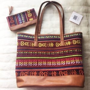 Handbags - Guatemalan Style woven & leather bag set
